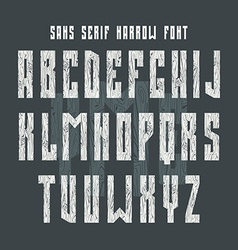 Bold sans serif font with texture wood vector