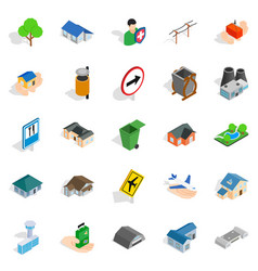 buildings icons set isometric style vector image
