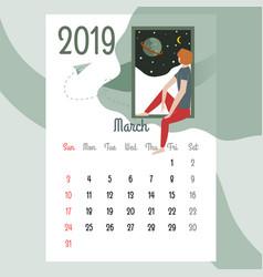 calendar 2019 march calendarcalendar vector image