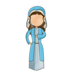 Cartoon virgin mary blessed catholic image vector
