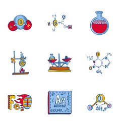 chemistry icon set hand drawn style vector image