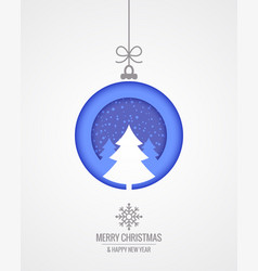 christmas card with merry xmas paper cut tree vector image
