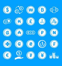 coin icon blue set vector image