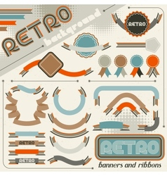 collection labels and ribbons in retro vintage vector image