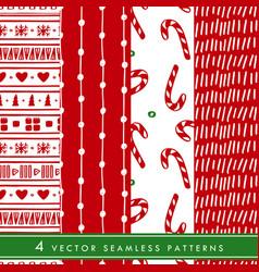 collection of hand drawn christmas seamless vector image
