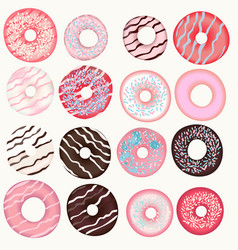 collection sweet pink brown beige donuts vector image