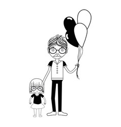 Contour father with his daughter and balloons vector