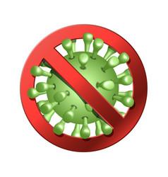 Coronavirus icon with red prohibit sign 2019-ncov vector