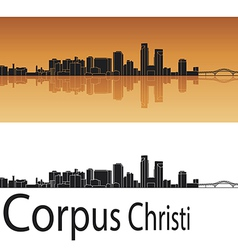Corpus Christi skyline in orange background vector image