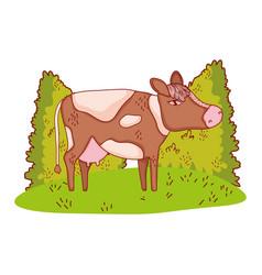 cow in nature cartoon vector image