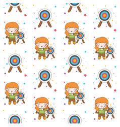 cute archer girl with blonde hair seamless vector image