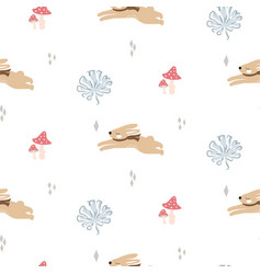 Cute bunnies in woods seamless pattern vector