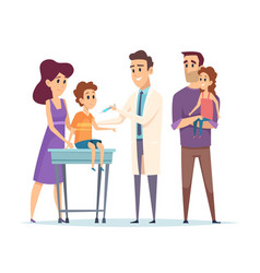 Family doctor pediatrician vaccination vector