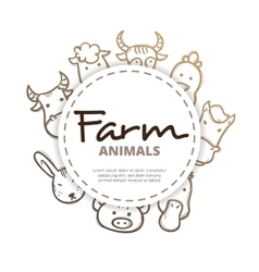 Farm animals icons circle composition vector