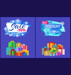 Final sale best discount - 30 off pile of presents vector