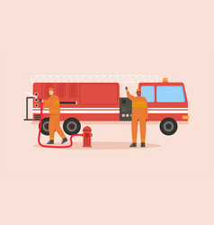 firefighters team with fire truck isolated scene vector image