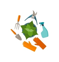 Flat design tools for gardening and plant care vector