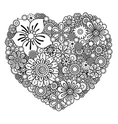 Floral heart coloring page vector