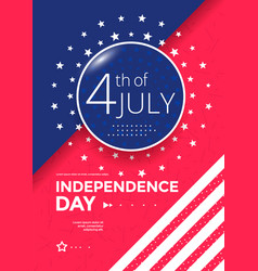 fourth july holiday poster design template vector image