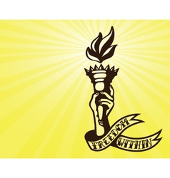 Freedom tattoo design hand holding flaming torch vector image