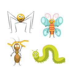 funny insects with cute friendly faces vector image