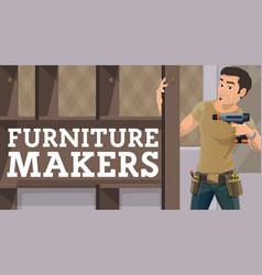 Furniture maker assembling wardrobe vector