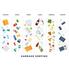 garbage sorting flat sort vector image