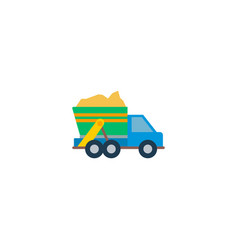 garbage truck icon flat element vector image