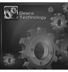 Gears on mesh text vector