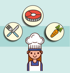 Girl chef cartoon and fish carrot fork knife vector