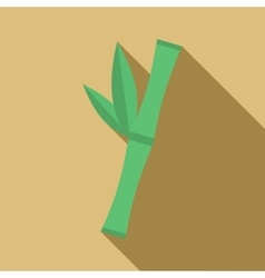 Green bamboo stem icon flat style vector image