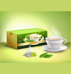 Green tea packaging realistic design vector