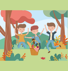 group men with basket picnic nature landscape vector image