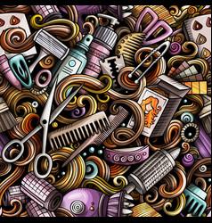 Hair salon hand drawn doodles seamless pattern vector