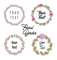 hand drawing wreath and floral elements vector image