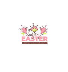 happy easter doodle floral greating message vector image
