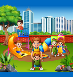 Happy family and children in the playground vector