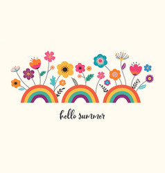 hello summer banner design with flowers and vector image