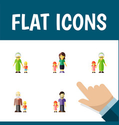 Icon flat relatives set of daugther grandpa vector