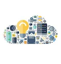 Icons shape flat technology cloud vector