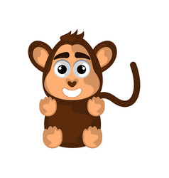 isolated cute happy monkey on white background vector image