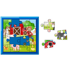 jigsaw puzzle pieces for farmer on the farm vector image