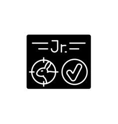 Junior hunting license rgb black glyph icon vector