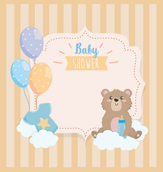 Label teddy bear with feeding bottle and clouds vector