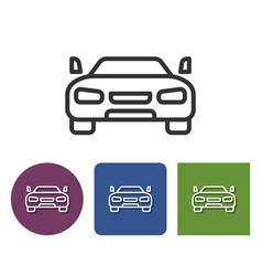 Line icon of car in different variants vector