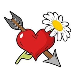 Love and flower Red heart and arrow Daisy field vector image