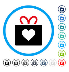 Love gift rounded icon vector