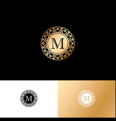 M gold letter monogram gold circle lace ornament vector