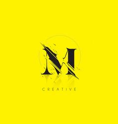 m letter logo with vintage grundge drawing design vector image