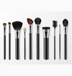 makeup brushes realistic professional makeup vector image